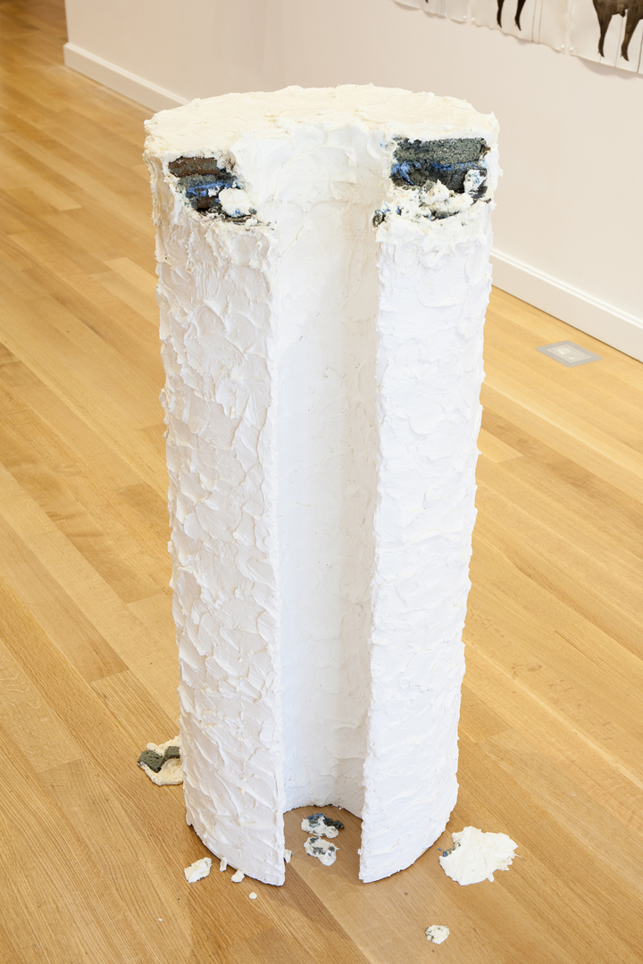 "Aay Preston-Myint, ""Of Their Slaves and Of Their Marriages,"" 2012. Wood, metal, plaster, plastic laminate, enamel, cake, food coloring, frosting, approx. 49"" (h) x 16"" (diam)."