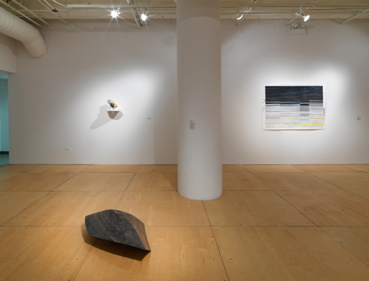 Ghost Nature, Gallery 400, Chicago, 2014 (installation view). Left: Jenny Kendler, Camouflage V (Ultra-deflector for endangered Bird of Paradise), 2013, vintage porcelain bird, glue, paperclay, acrylic, gold leaf, 10 x 6 x 6 in. Center: Assaf Evron, Untitled, (sRGB 1996), 2012, MDF and epoxy, 32 x 35 x 18 in. Right: Carrie Gundersdorf, Four Sections of Saturn's Rings, 2013, colored pencil and watercolor on paper, 40 x 60 in.