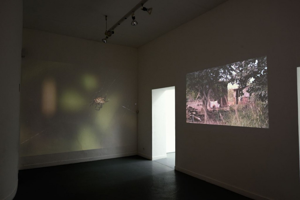 "Akosua Adoma Owusu. "" Anance,"" 2013, dual video projection, 1.37 min. Installation view, La Box, ENSA, 2014."