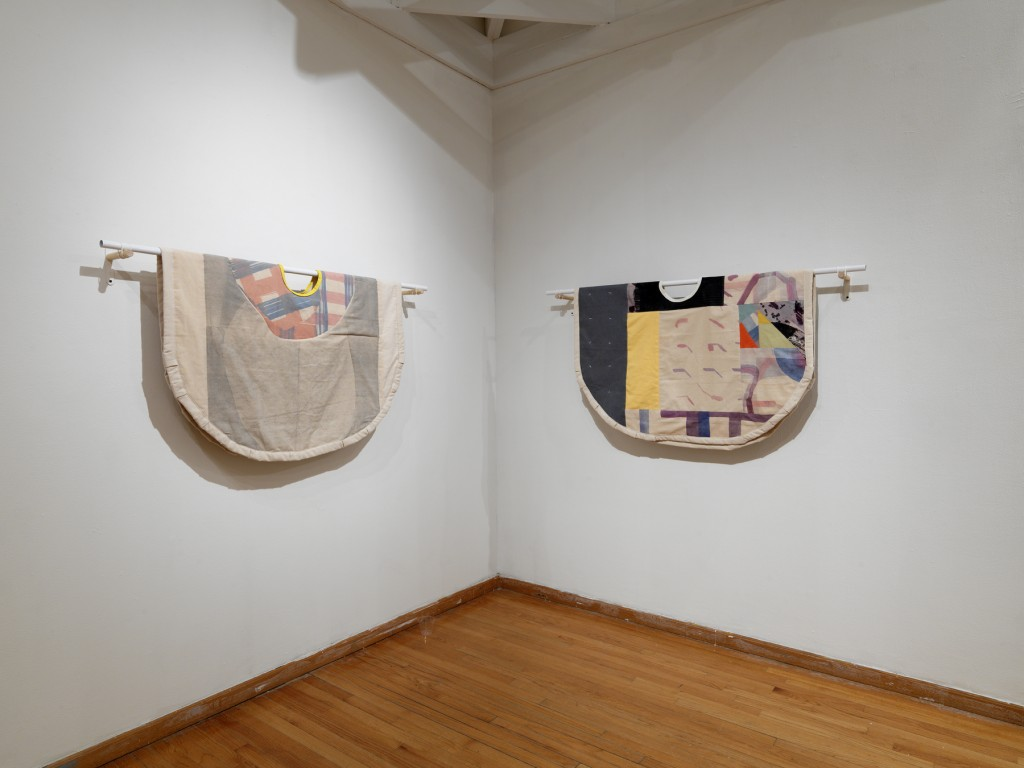 """""""Enclosure Painting 1"""" and """"Enclosure Painting 2"""" 2015, Screen print and dye transfer on quilted canvas, 45 x 60 inches"""