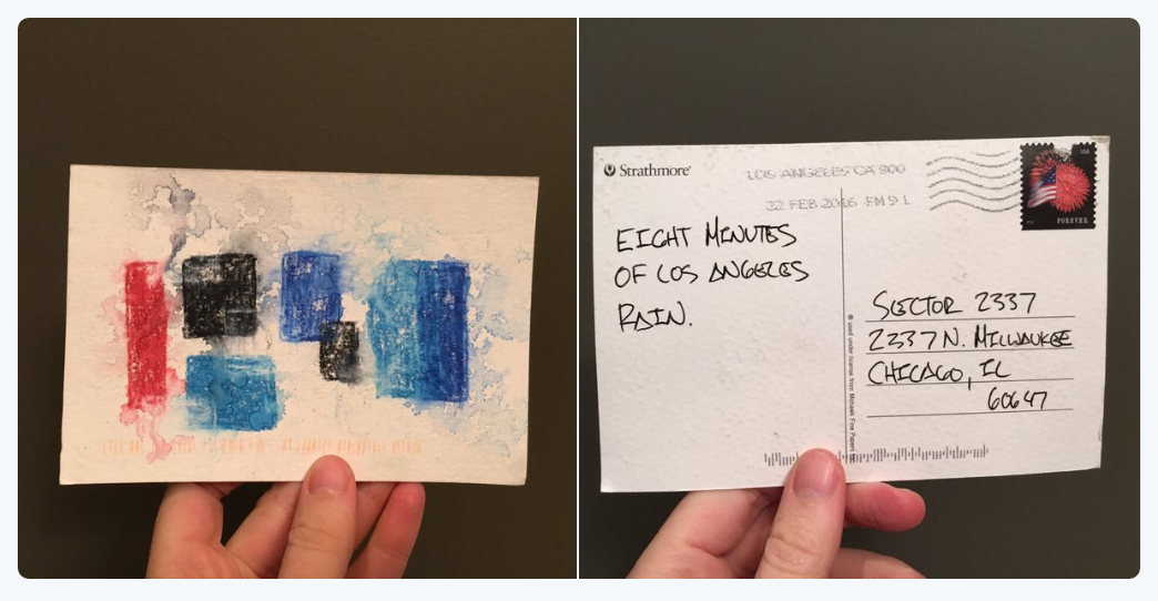 Found cleaning the office: postcard from anonymous friend documents weather