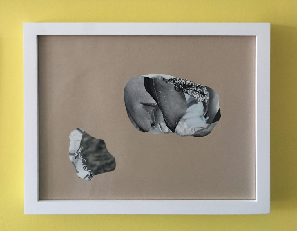 "Andrew Yang, mineral extraction #2 (European Esquire October 2007), 2013. Collage, 12x15""."
