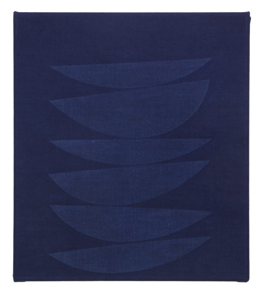 "Michael Milano, stack 3, 2016. Distressed indigo canvas, snout form, 15 x 13""."