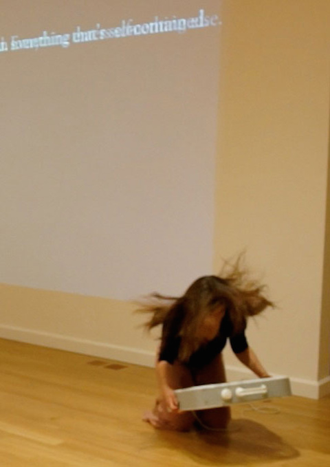 Jane Jerardi, Tenuous, 2014. In progress solo performance. Photo by Clare Britt.