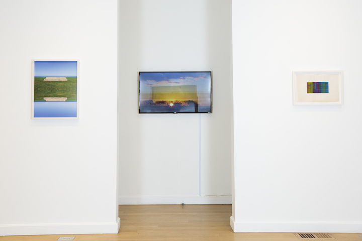 "Left to right: Lindsey Dorr-Niro, Stage, 2017, Digital Print, 25×19.12″; Untitled, 2017, Looped video, 14min; Void Inverse, 2017, Digital Print, 14.37 by 20.50"". Photo by Clare Britt."